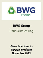 BWG Group Debt Restructuring. Finanacial adviser to banking syndicate November 2013.