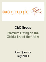 C&C Group. Premium listing on the official list of the UKLA. Joint sponsor July 2013.
