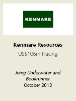 Kenmare Resources. US$106 Placing. Joint underwriter and bookrunner. October 2013.