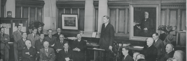 James Davy addressing the Irish Stock Exchange in 1944