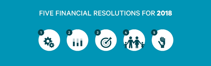Banner of five financial resolutions for 2018