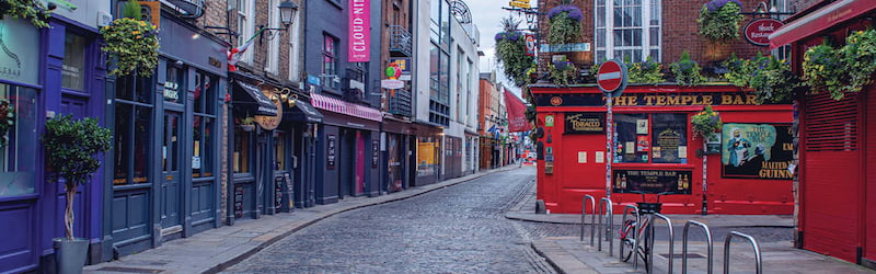 Irish equity market image of Temple Bar in Dublin